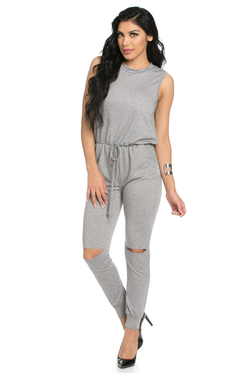 Knee Cutout Heather Grey Jumpsuit - Romper - My Yuccie - 1