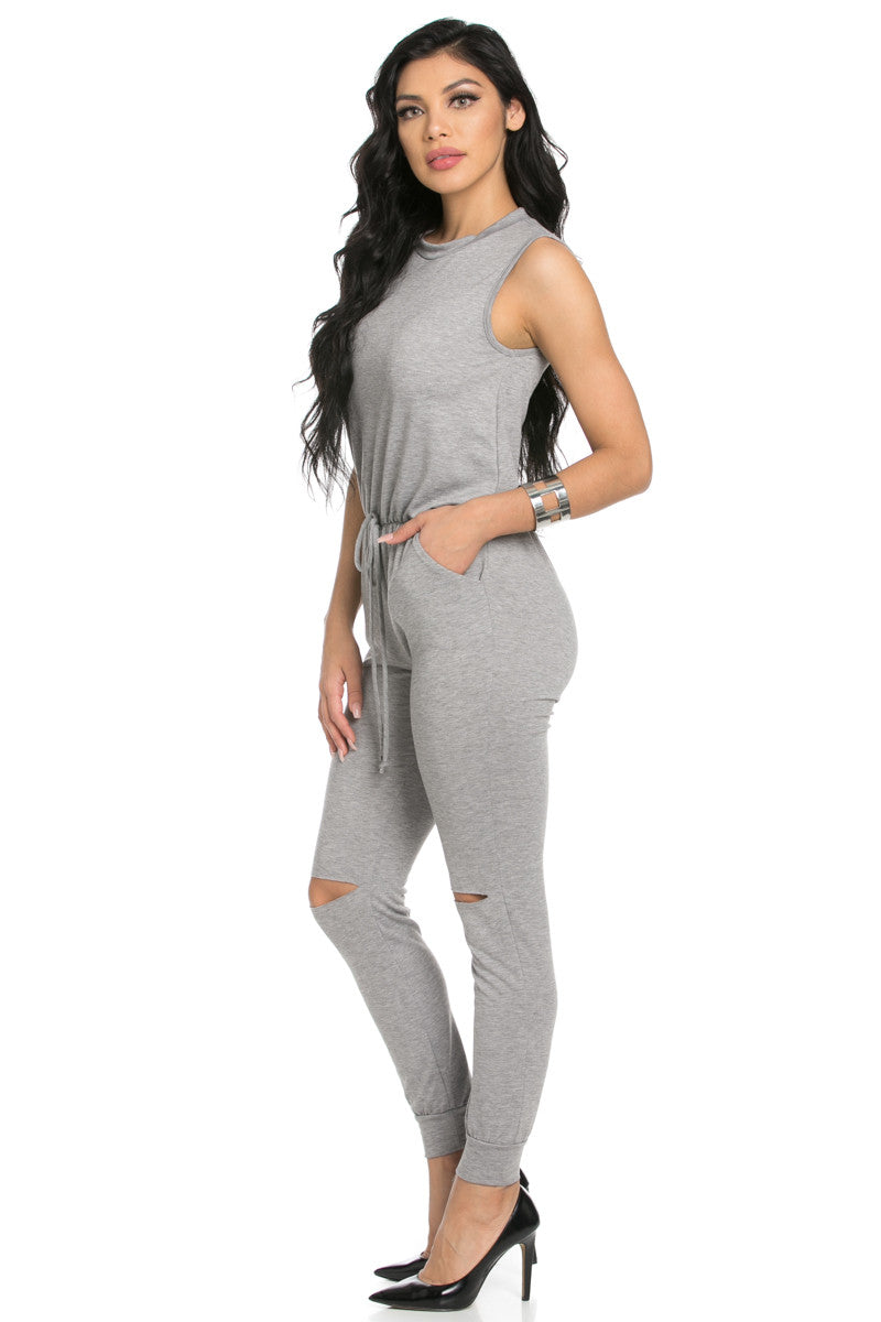 Knee Cutout Heather Grey Jumpsuit - Romper - My Yuccie - 3