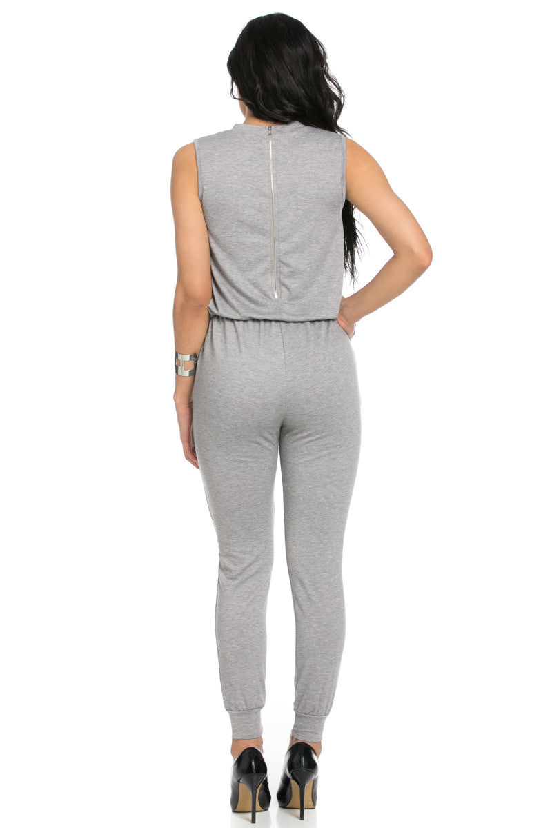 Knee Cutout Heather Grey Jumpsuit - Romper - My Yuccie - 4