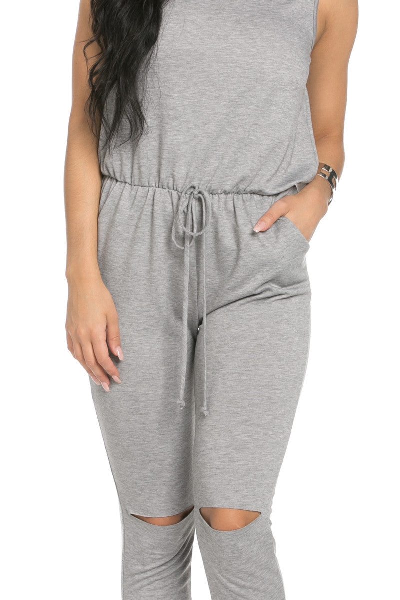 Knee Cutout Heather Grey Jumpsuit - Romper - My Yuccie - 5