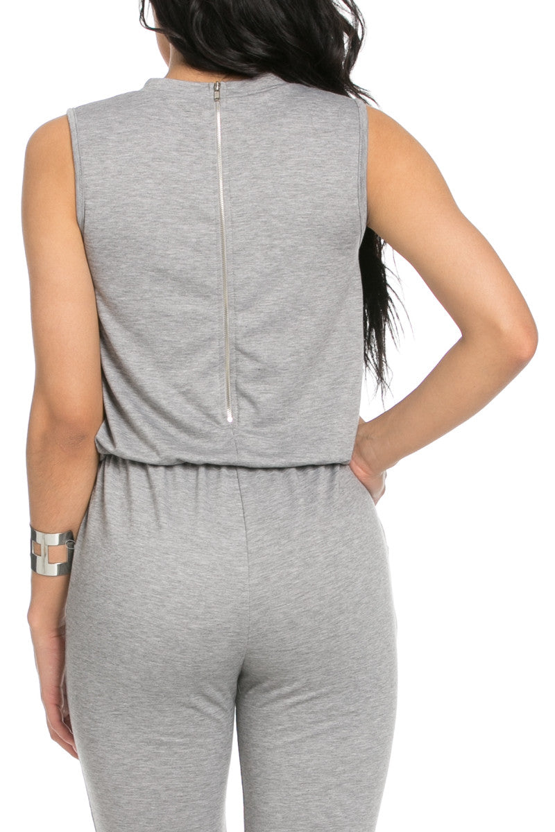 Knee Cutout Heather Grey Jumpsuit - Romper - My Yuccie - 6