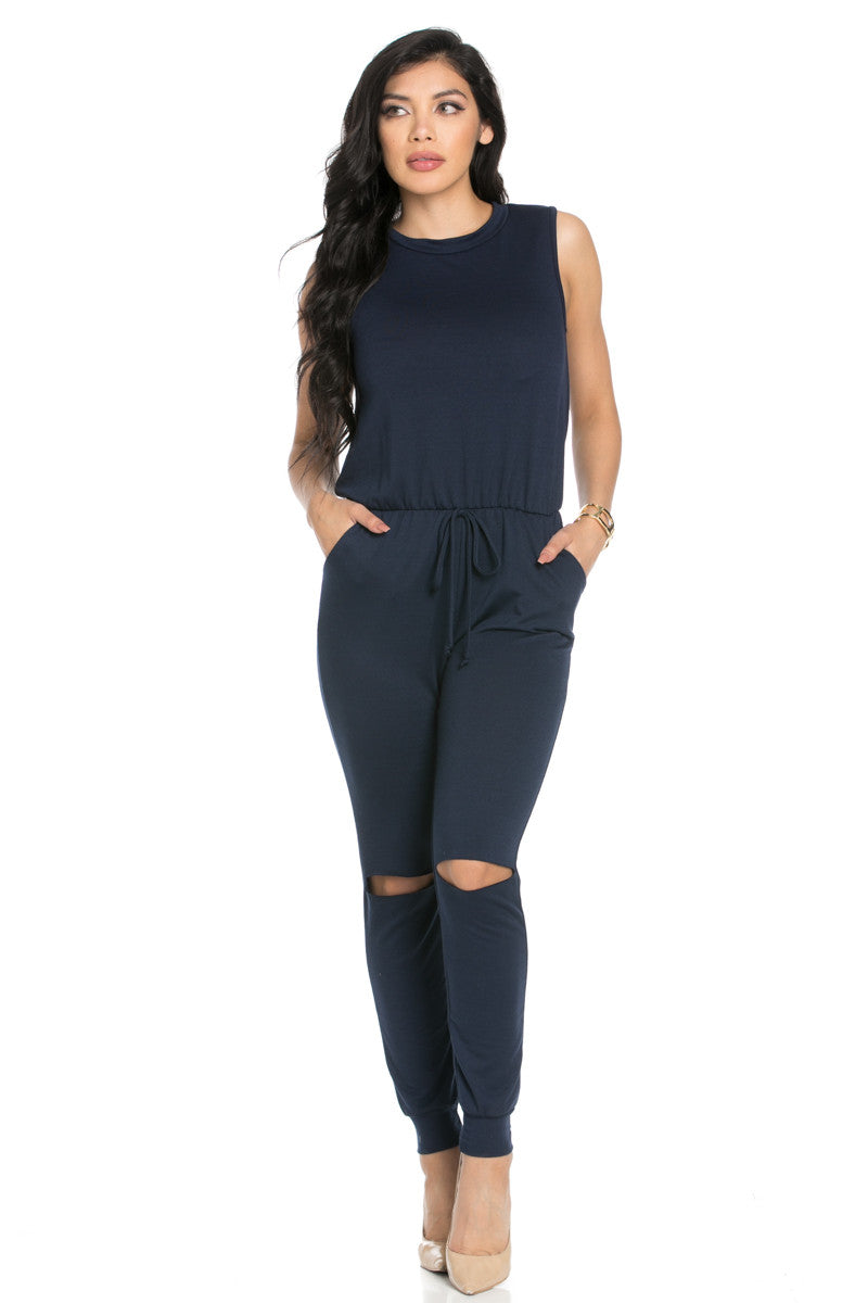 Knee Cutout Navy Jumpsuit - Romper - My Yuccie - 1