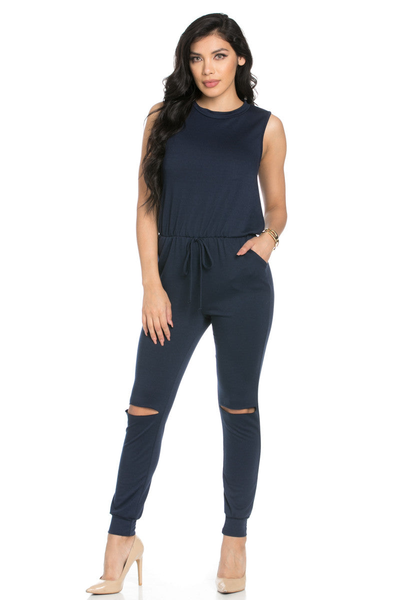 Knee Cutout Navy Jumpsuit - Romper - My Yuccie - 2