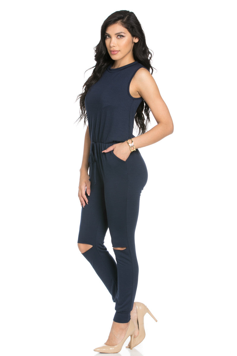 Knee Cutout Navy Jumpsuit - Romper - My Yuccie - 3