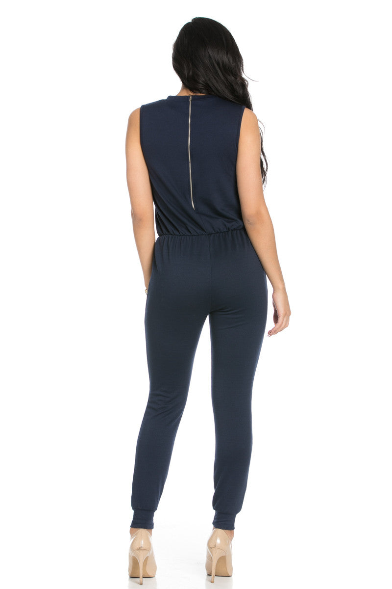 Knee Cutout Navy Jumpsuit - Romper - My Yuccie - 4