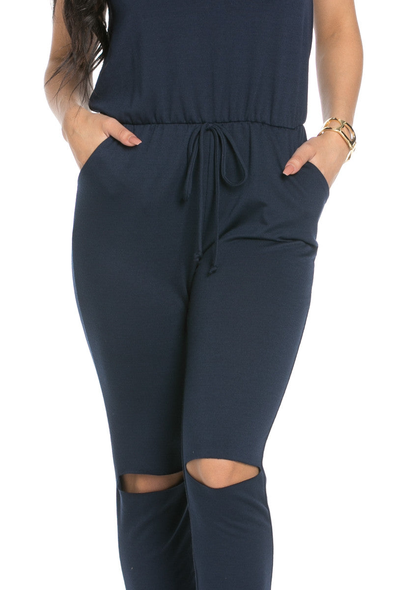 Knee Cutout Navy Jumpsuit - Romper - My Yuccie - 5