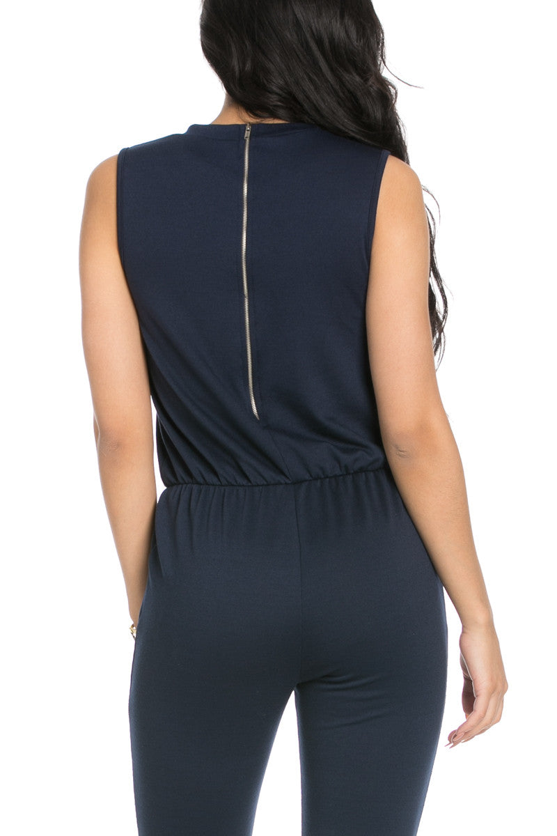 Knee Cutout Navy Jumpsuit - Romper - My Yuccie - 6