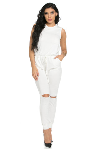 Knee Cutout White Jumpsuit - Romper - My Yuccie - 1