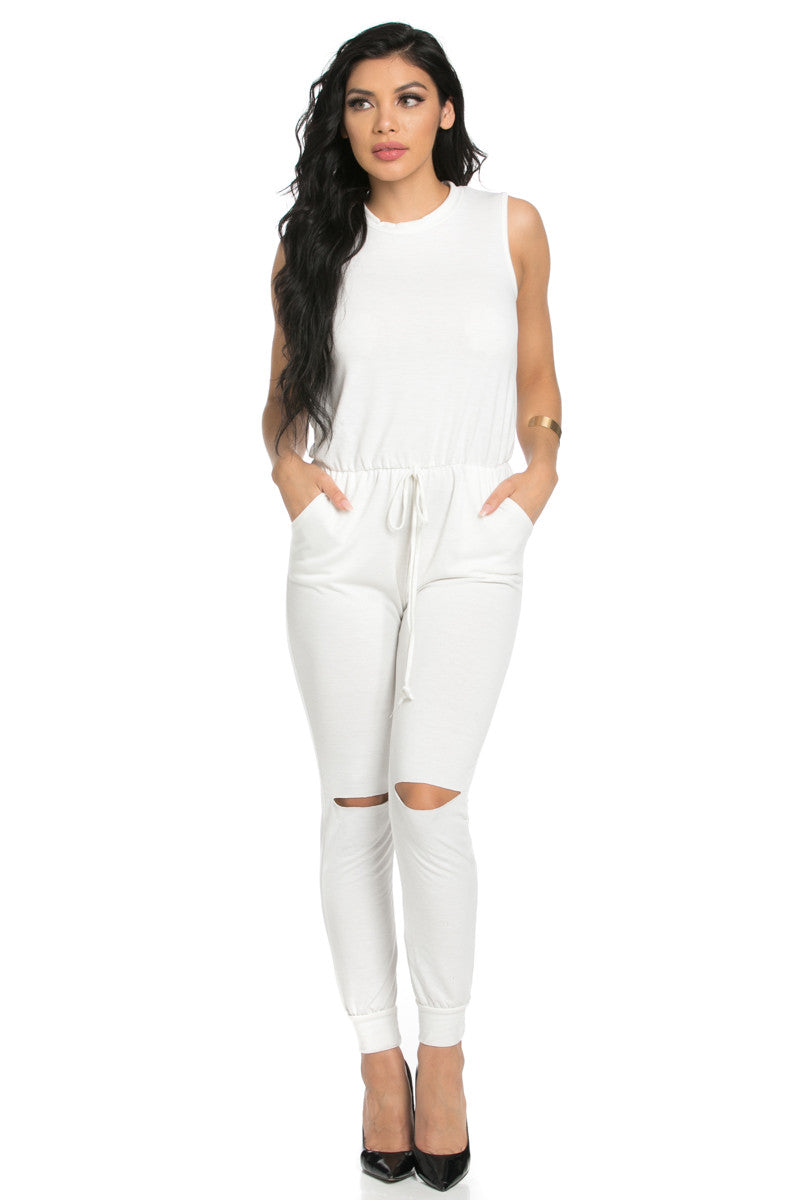Knee Cutout White Jumpsuit - Romper - My Yuccie - 2