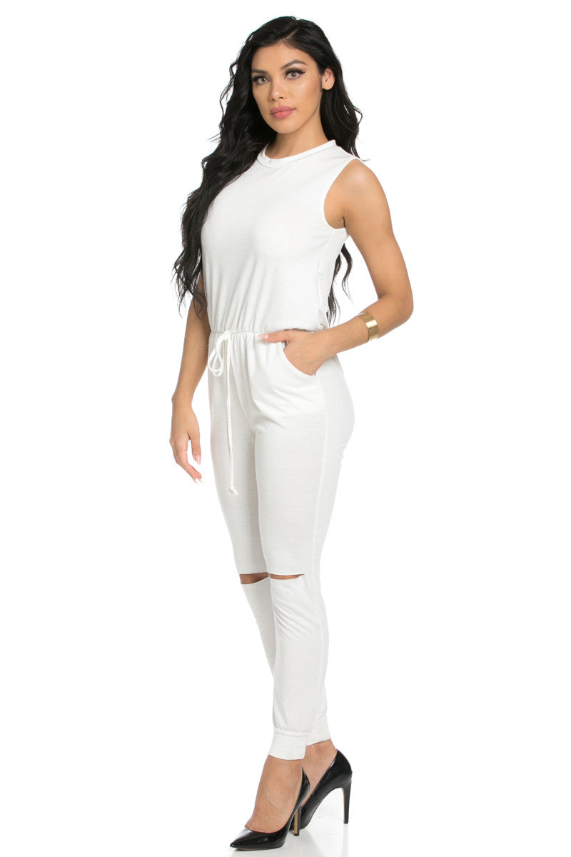 Knee Cutout White Jumpsuit - Romper - My Yuccie - 3