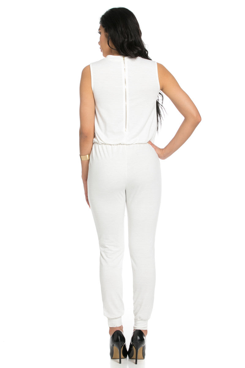 Knee Cutout White Jumpsuit - Romper - My Yuccie - 4