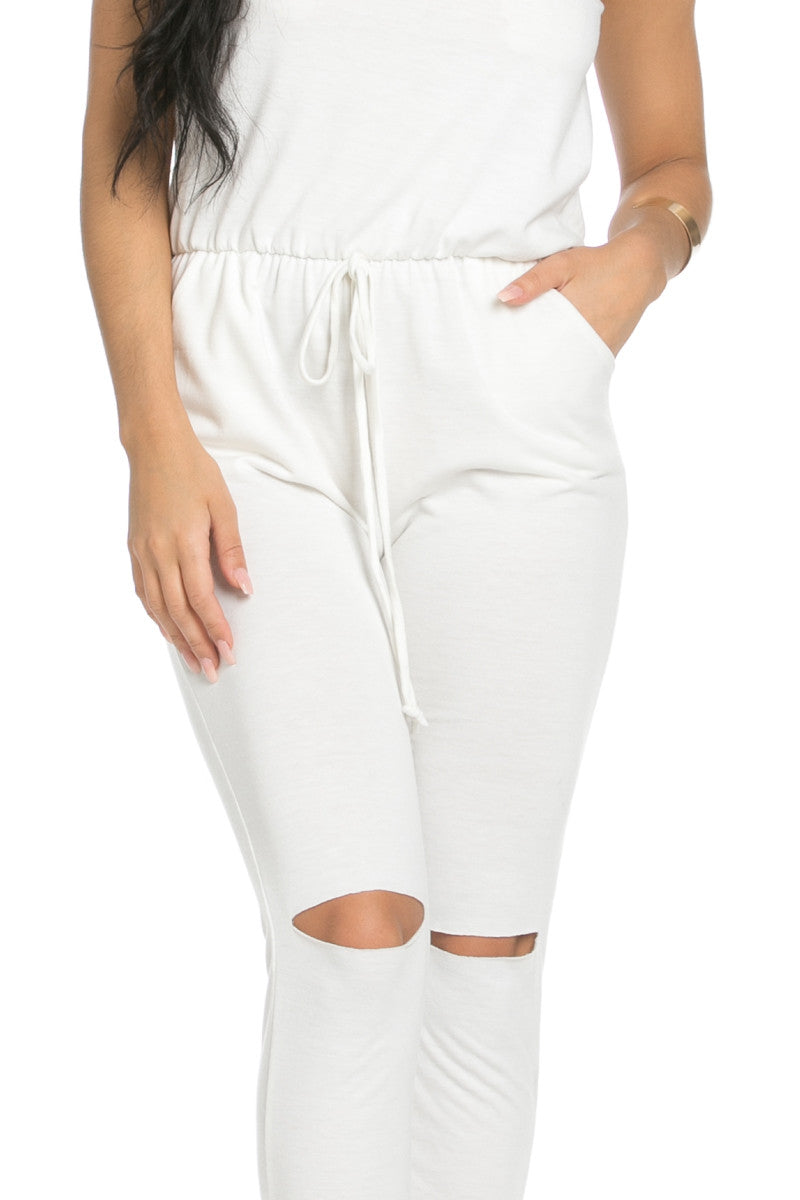 Knee Cutout White Jumpsuit - Romper - My Yuccie - 5