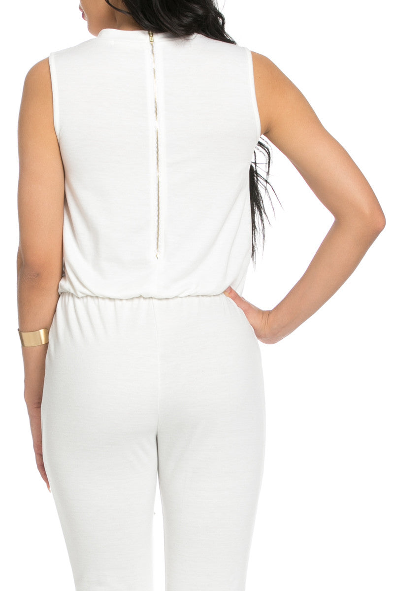 Knee Cutout White Jumpsuit - Romper - My Yuccie - 6