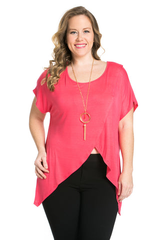 Asymmetrical Wrap Plus Size Coral Top - Tops - My Yuccie - 1