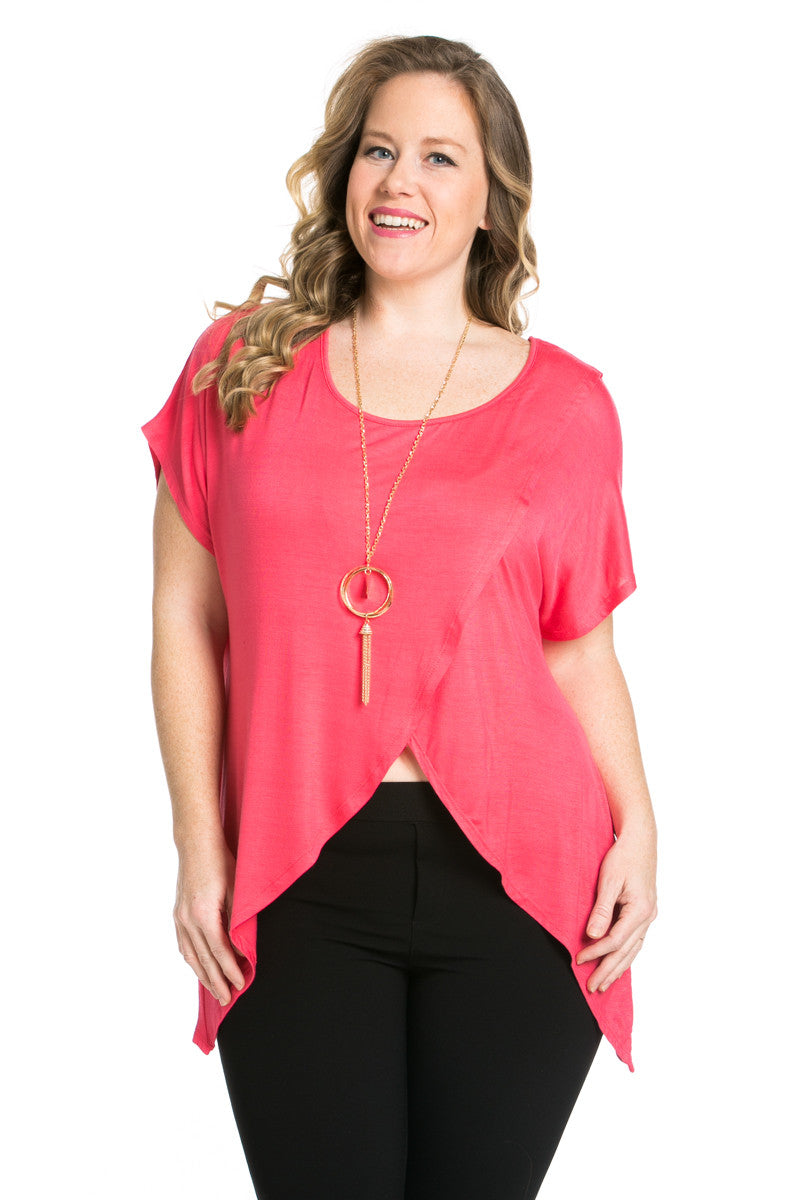 Asymmetrical Wrap Plus Size Coral Top - Tops - My Yuccie - 2