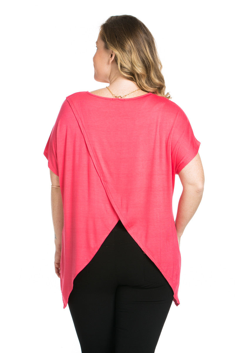 Asymmetrical Wrap Plus Size Coral Top - Tops - My Yuccie - 4