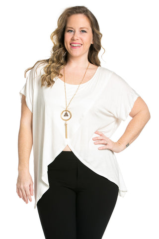 Asymmetrical Wrap Plus Size White Top - Tops - My Yuccie - 1