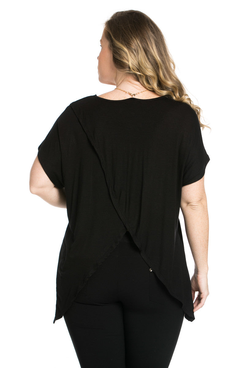 Asymmetrical Wrap Plus Size Black Top - Tops - My Yuccie - 4