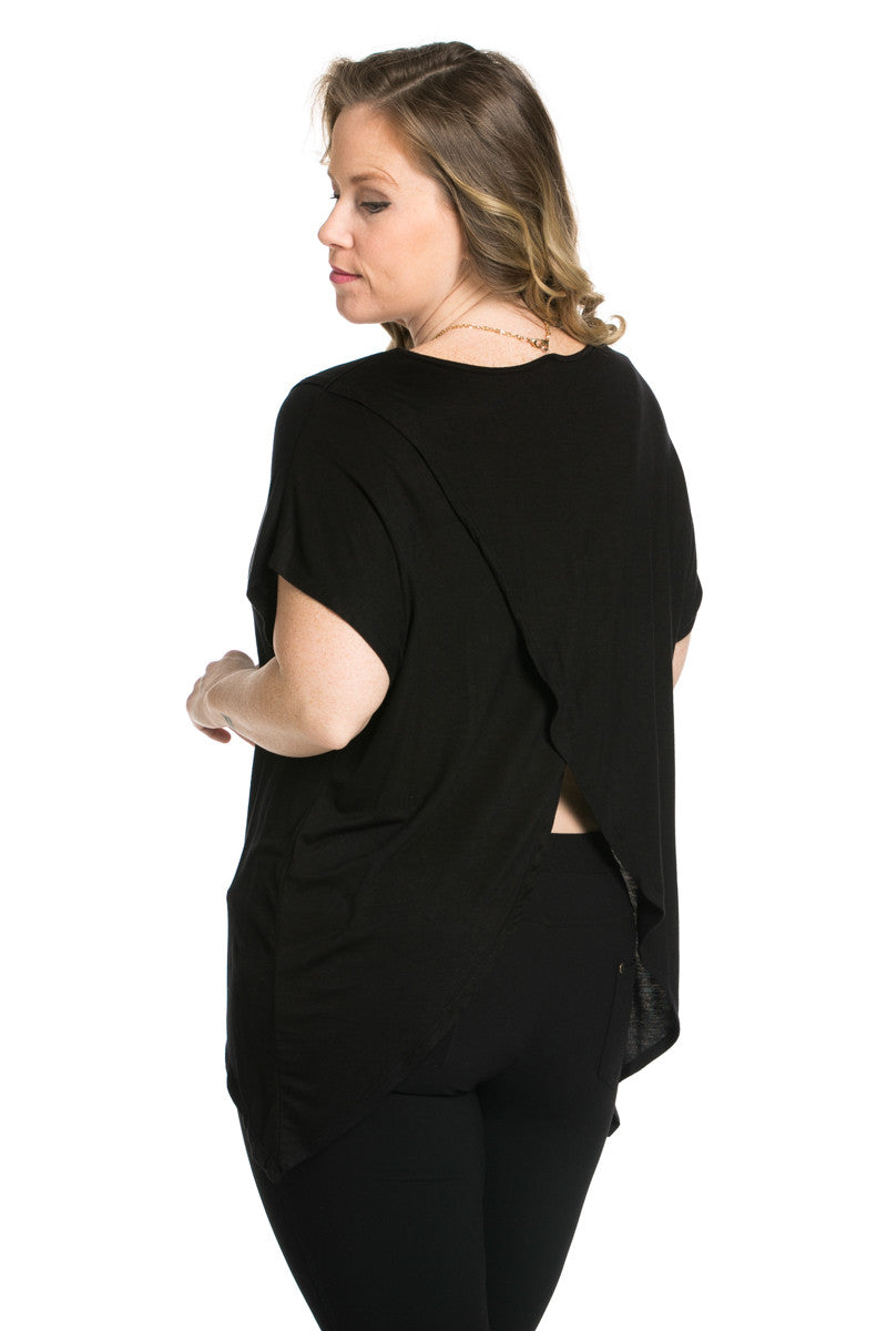 Asymmetrical Wrap Plus Size Black Top - Tops - My Yuccie - 5