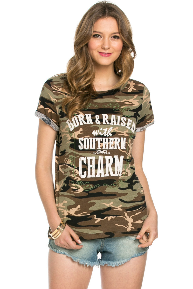 Southern Charm Camouflage Tee - Tops - My Yuccie - 1