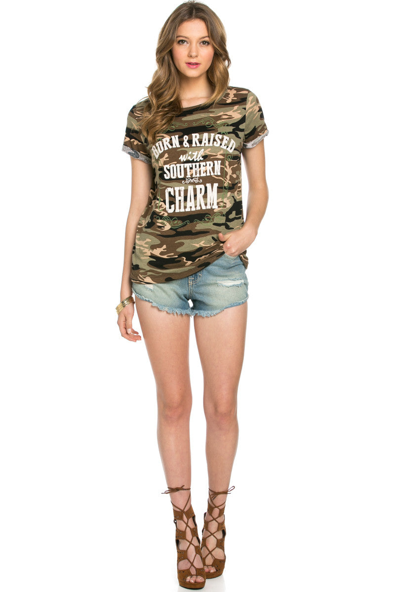 Southern Charm Camouflage Tee - Tops - My Yuccie - 4