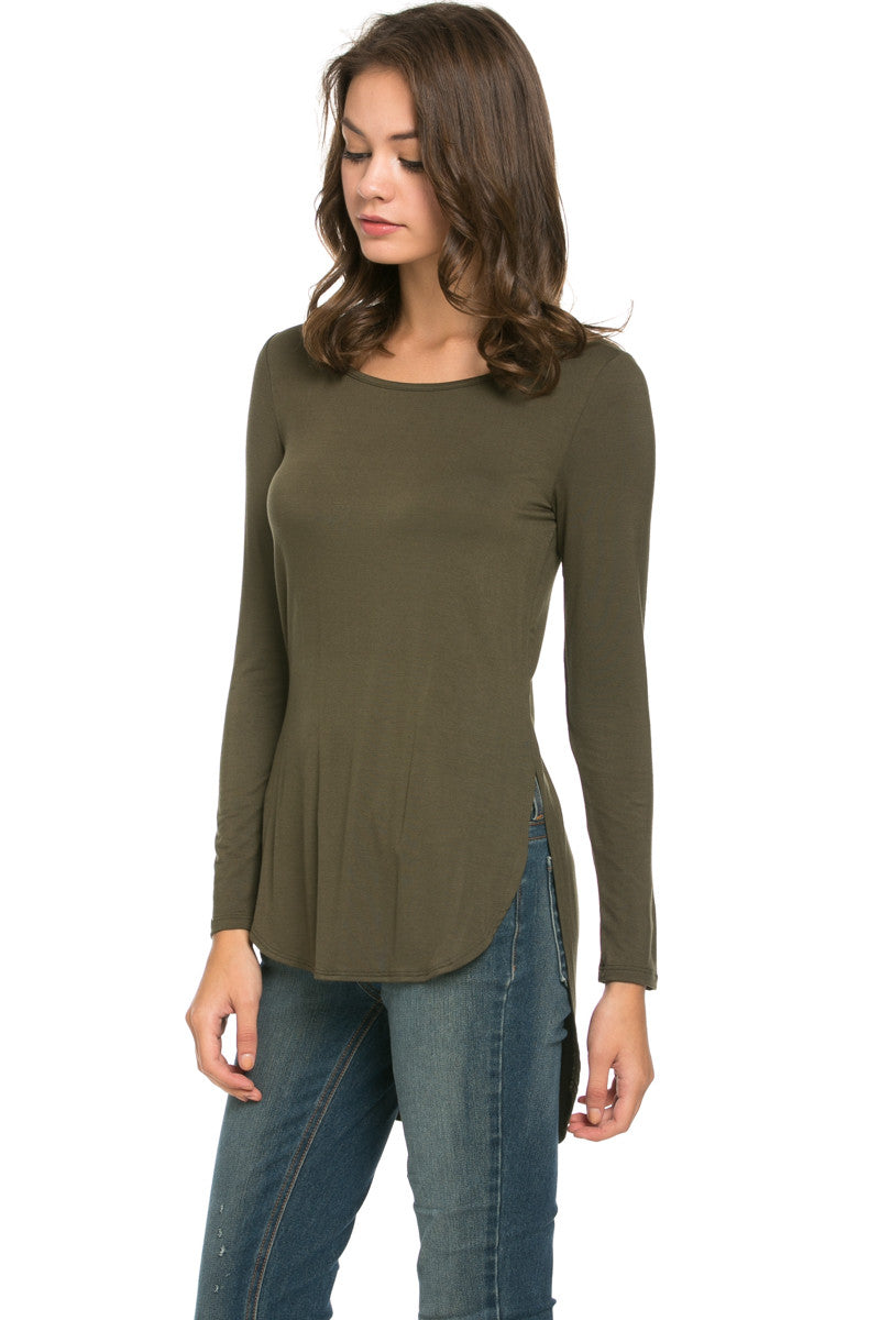 Hi Low Long Sleeve Top Olive - Tops - My Yuccie - 2