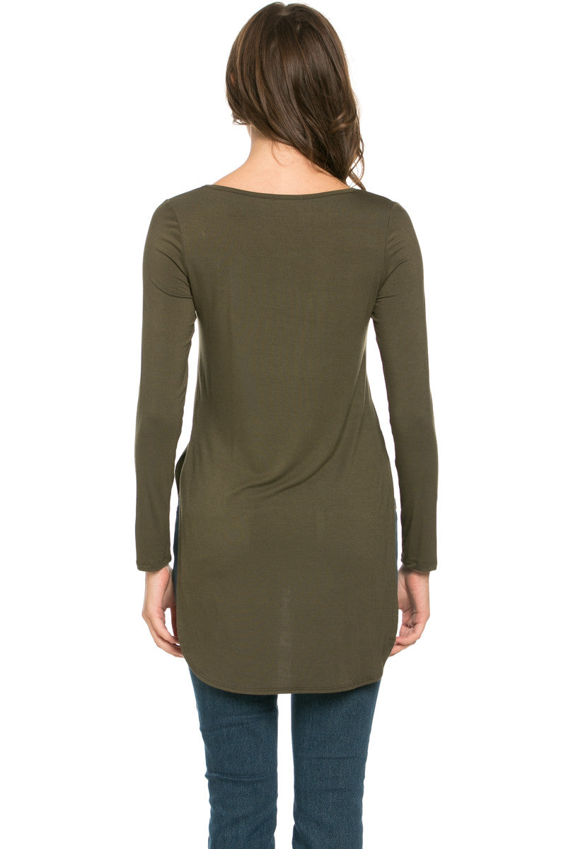Hi Low Long Sleeve Top Olive - Tops - My Yuccie - 3