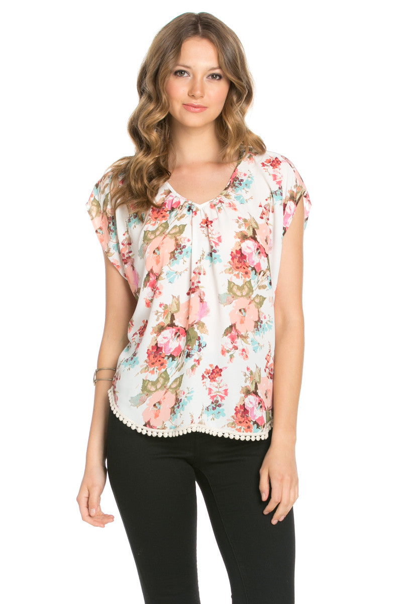 Floral Trim Ivory Short Sleeve Top - Tops - My Yuccie - 1