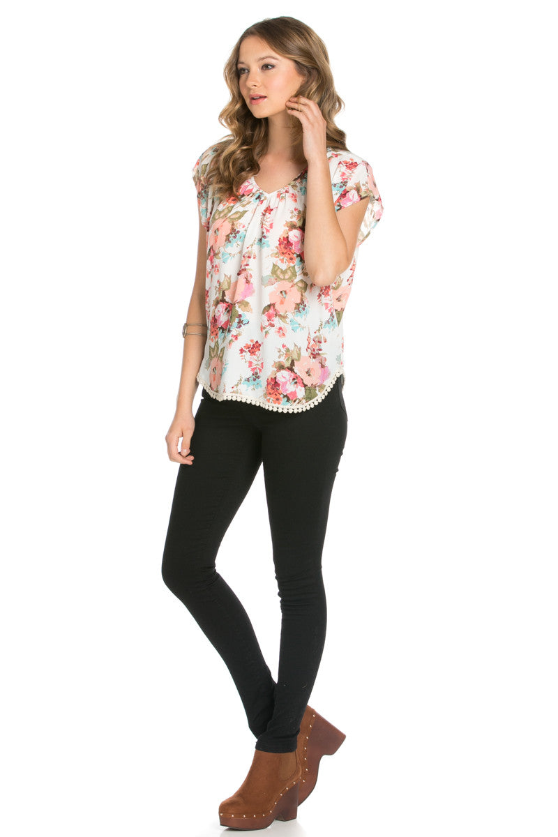 Floral Trim Ivory Short Sleeve Top - Tops - My Yuccie - 5