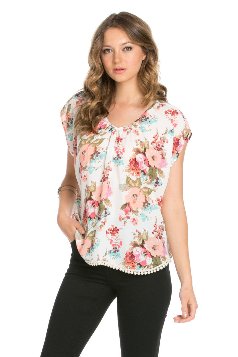 Floral Trim Ivory Short Sleeve Top - Tops - My Yuccie - 2
