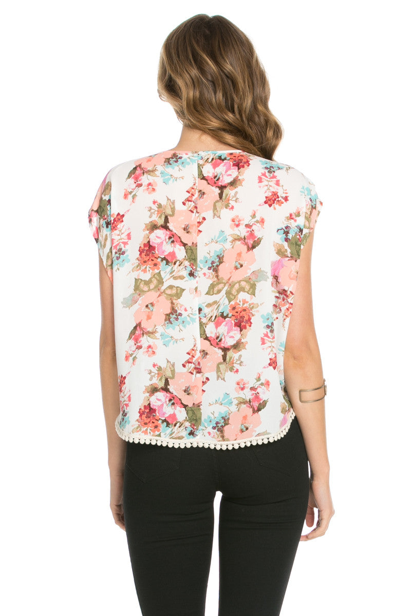 Floral Trim Ivory Short Sleeve Top - Tops - My Yuccie - 3