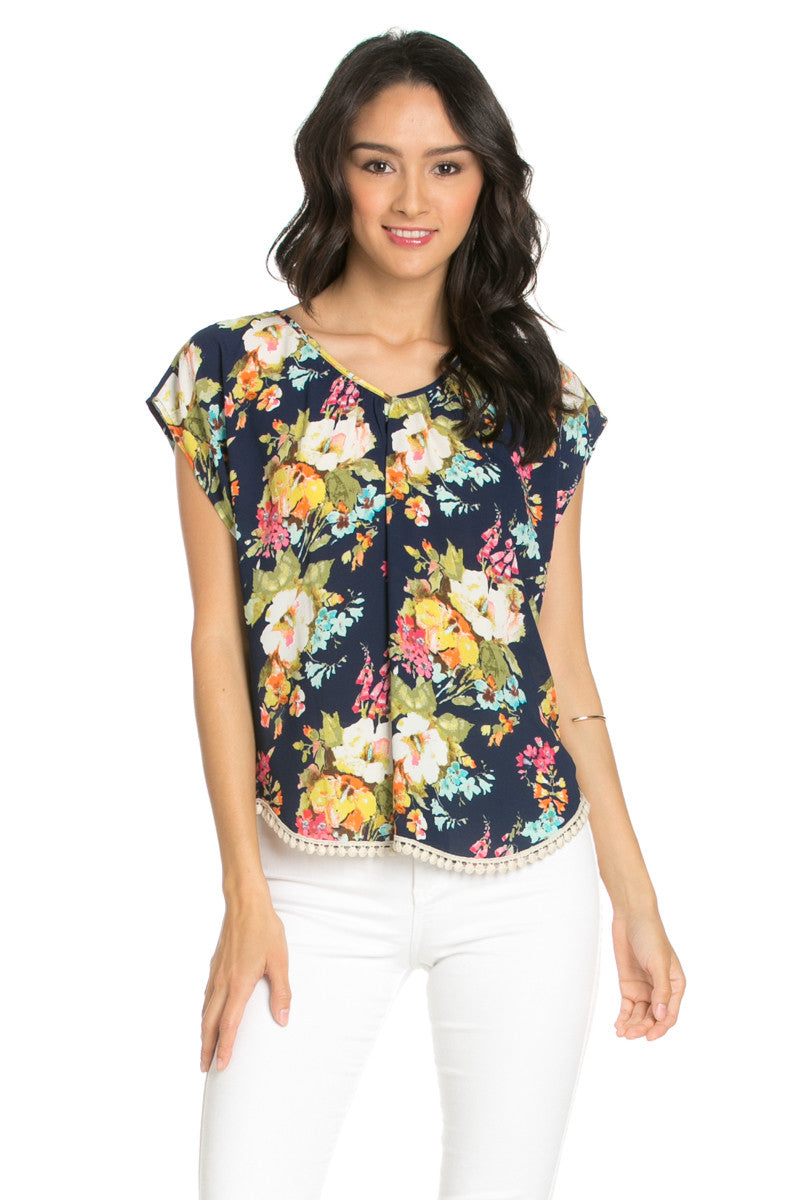 Floral Trim Navy Short Sleeve Top - Tops - My Yuccie - 1