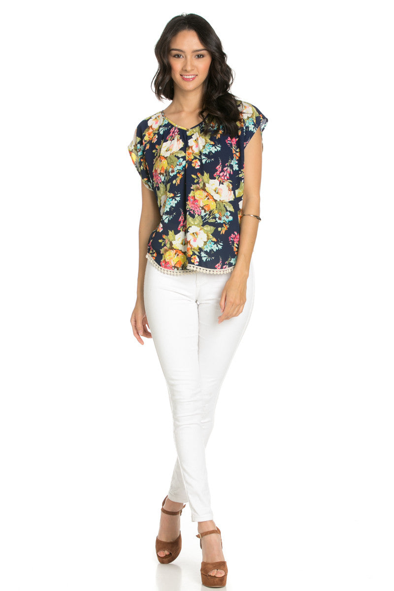 Floral Trim Navy Short Sleeve Top - Tops - My Yuccie - 4