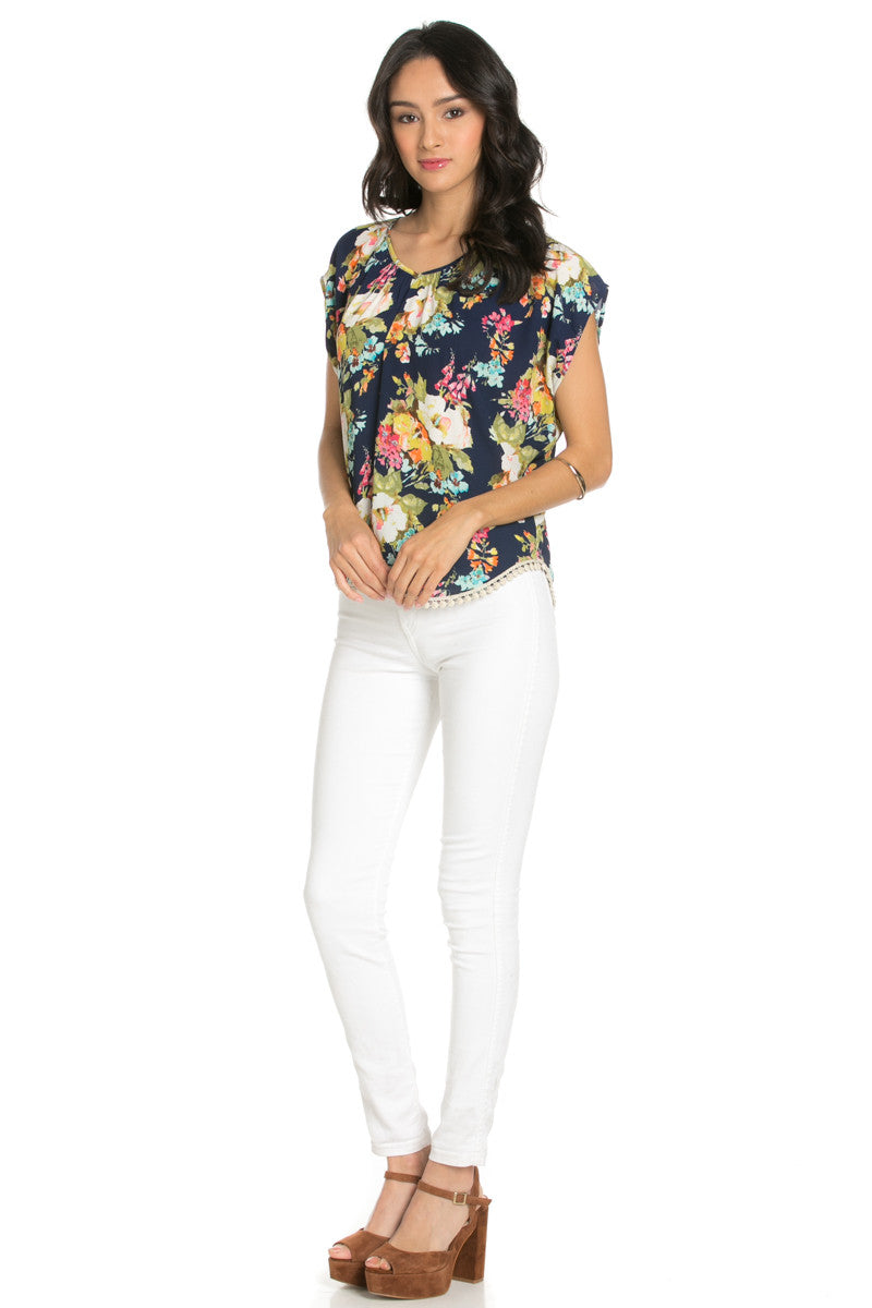 Floral Trim Navy Short Sleeve Top - Tops - My Yuccie - 5