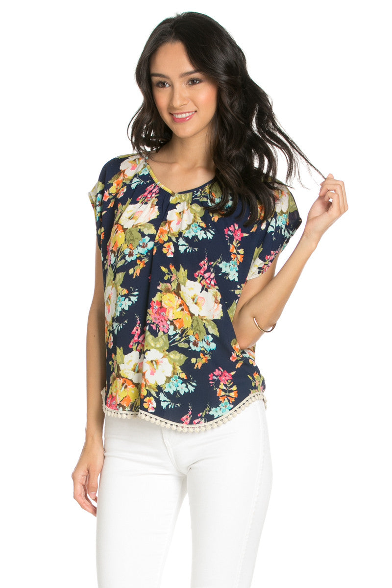 Floral Trim Navy Short Sleeve Top - Tops - My Yuccie - 2