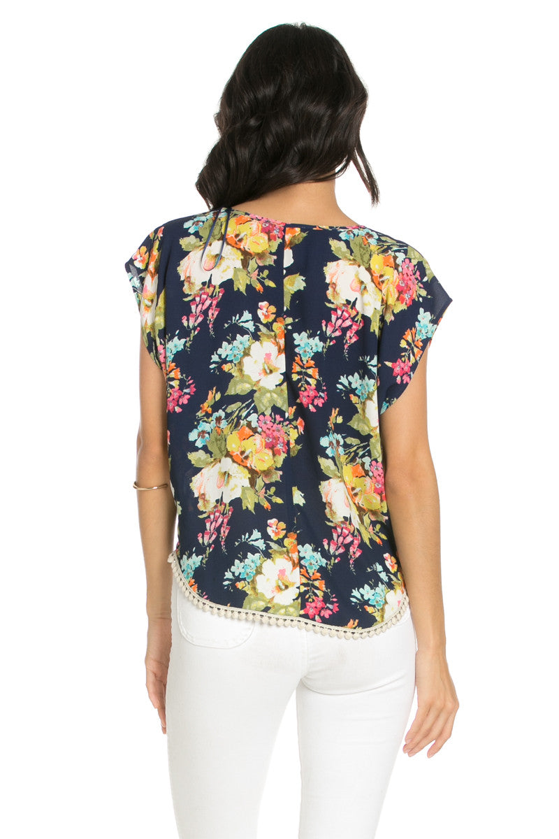 Floral Trim Navy Short Sleeve Top - Tops - My Yuccie - 3