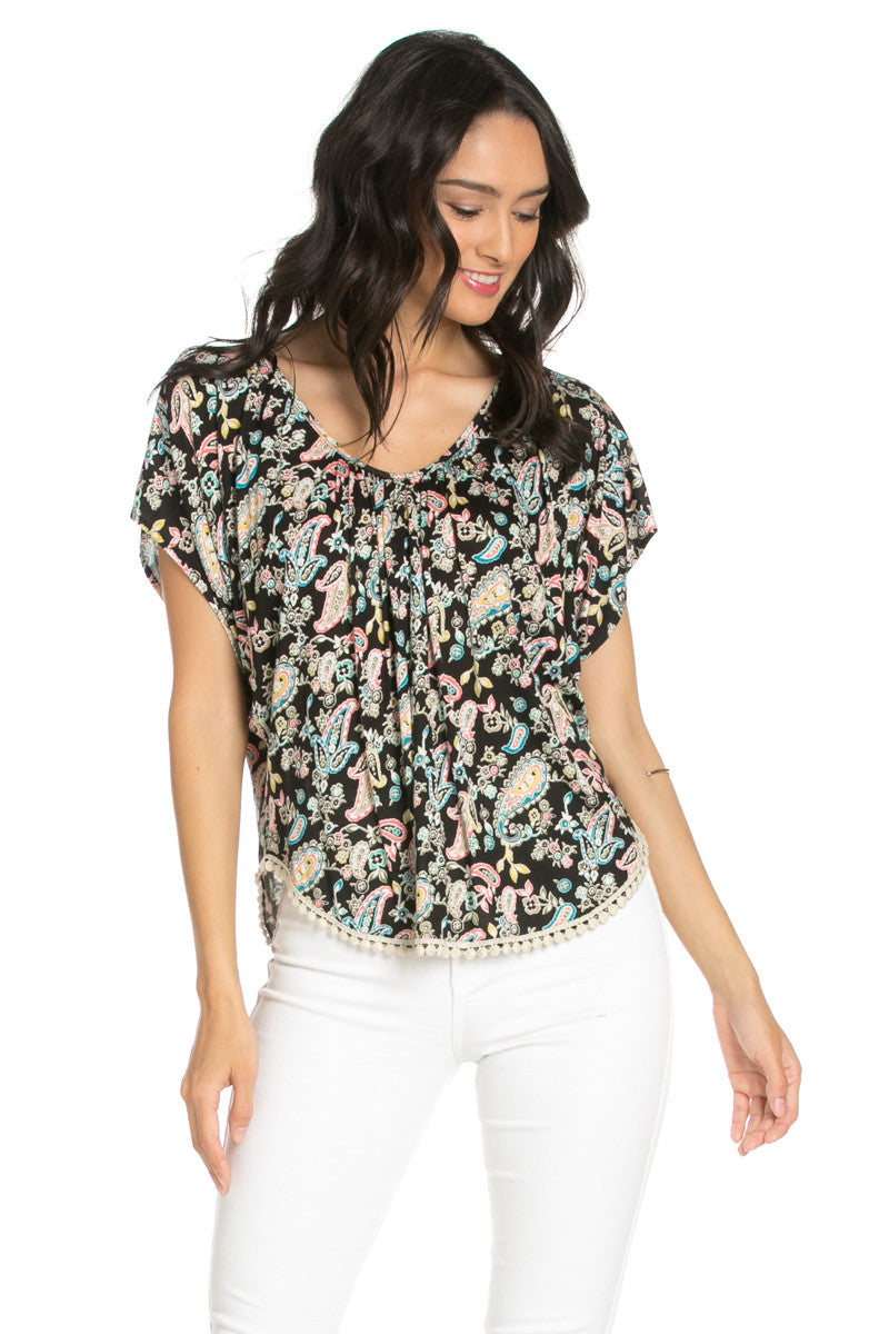 India Paisley Print Piko Top - Tops - My Yuccie - 1