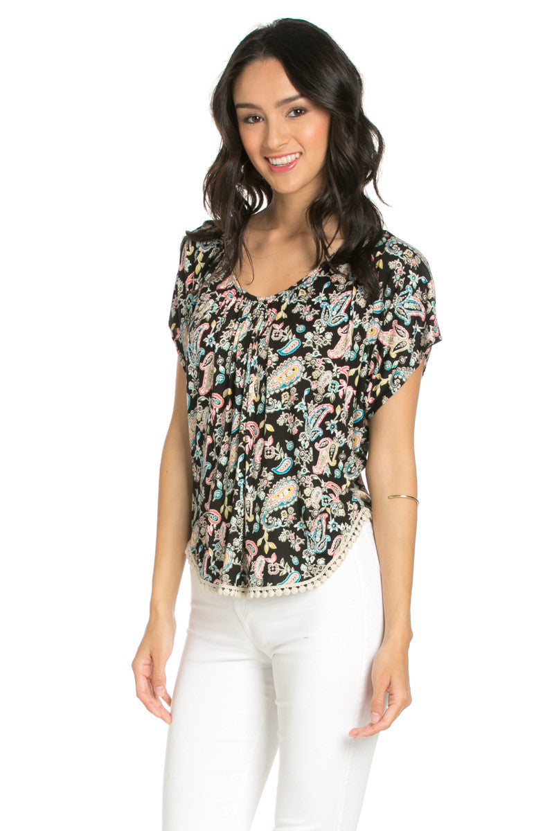 India Paisley Print Piko Top - Tops - My Yuccie - 2