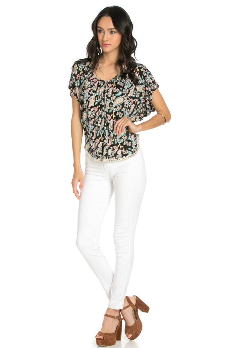 India Paisley Print Piko Top - Tops - My Yuccie - 4