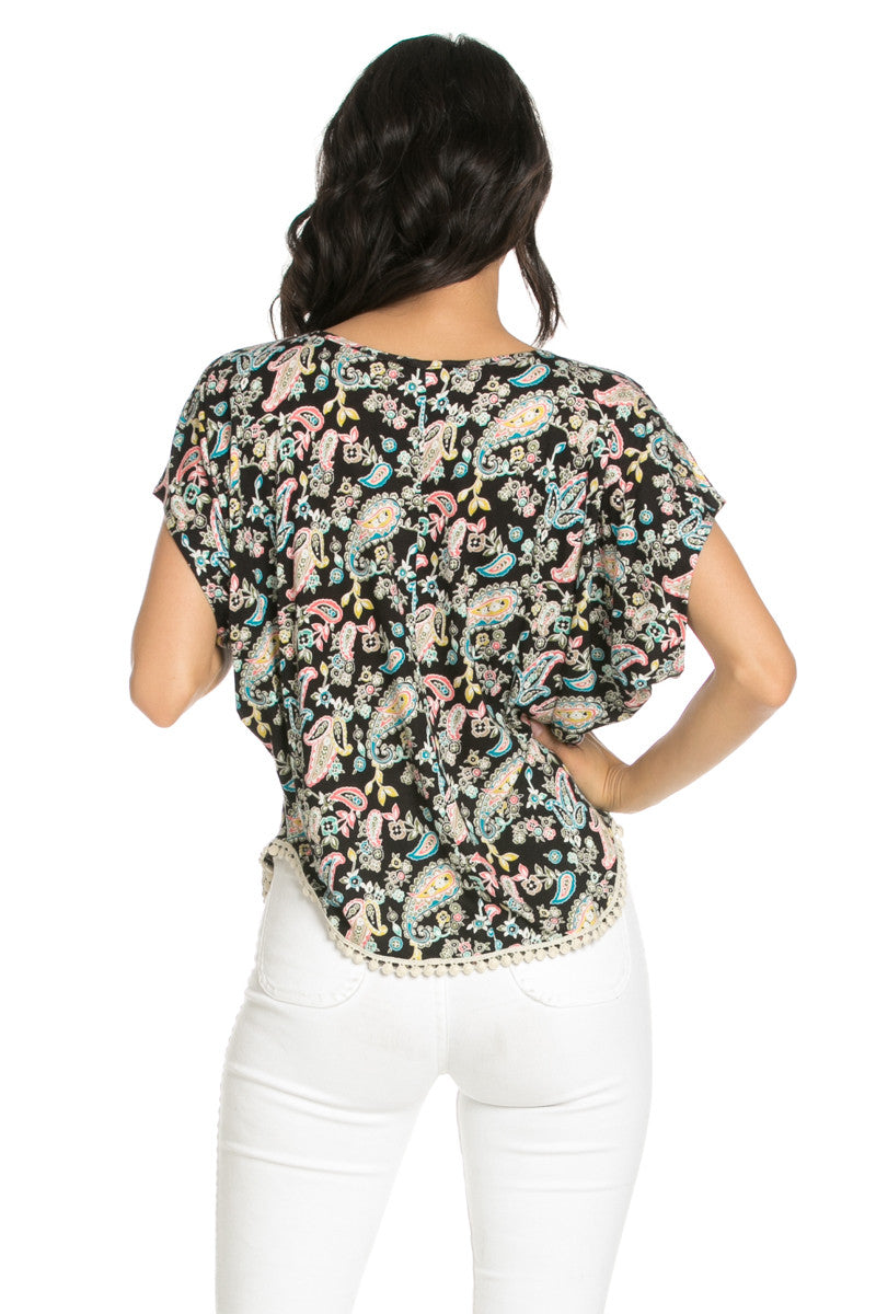 India Paisley Print Piko Top - Tops - My Yuccie - 3