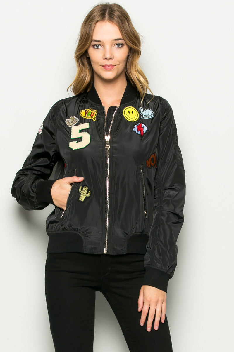 Black Number 5 Patch Bomber Jacket - Jacket - My Yuccie - 1