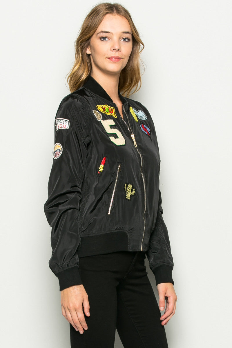 Black Number 5 Patch Bomber Jacket - Jacket - My Yuccie - 2