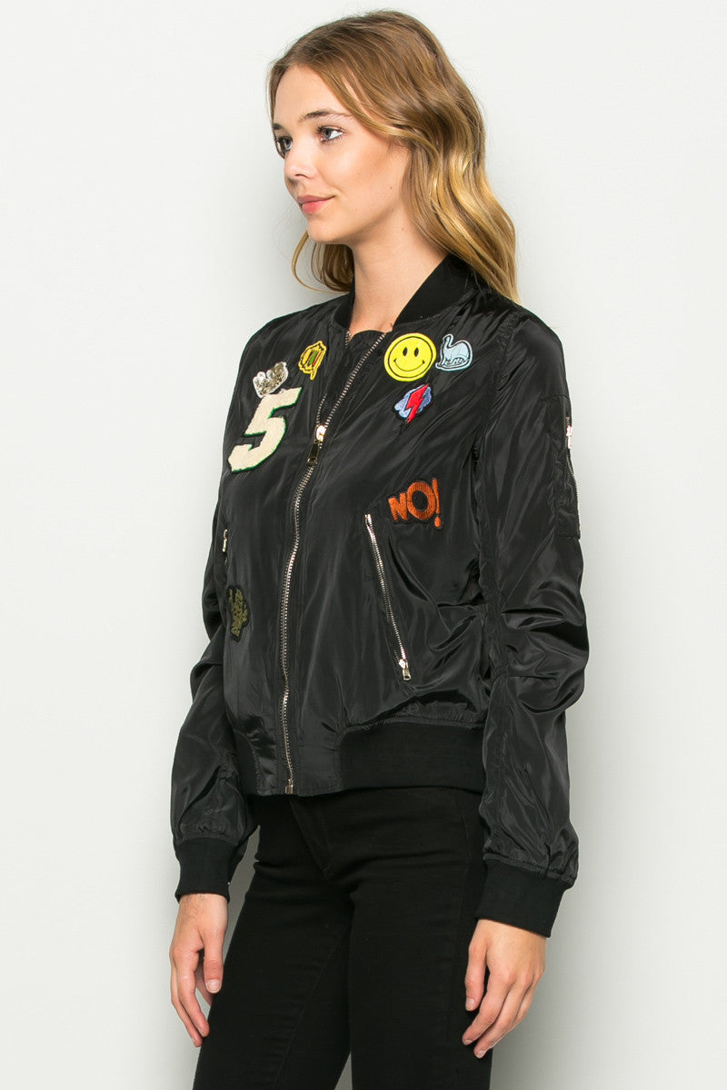 Black Number 5 Patch Bomber Jacket - Jacket - My Yuccie - 3