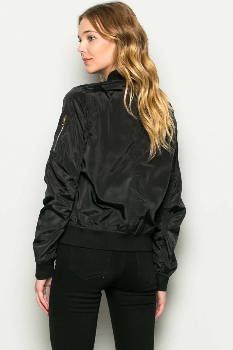 Black Number 5 Patch Bomber Jacket - Jacket - My Yuccie - 4
