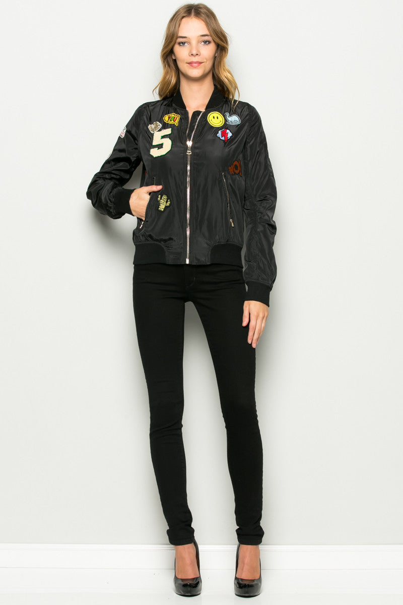 Black Number 5 Patch Bomber Jacket - Jacket - My Yuccie - 5
