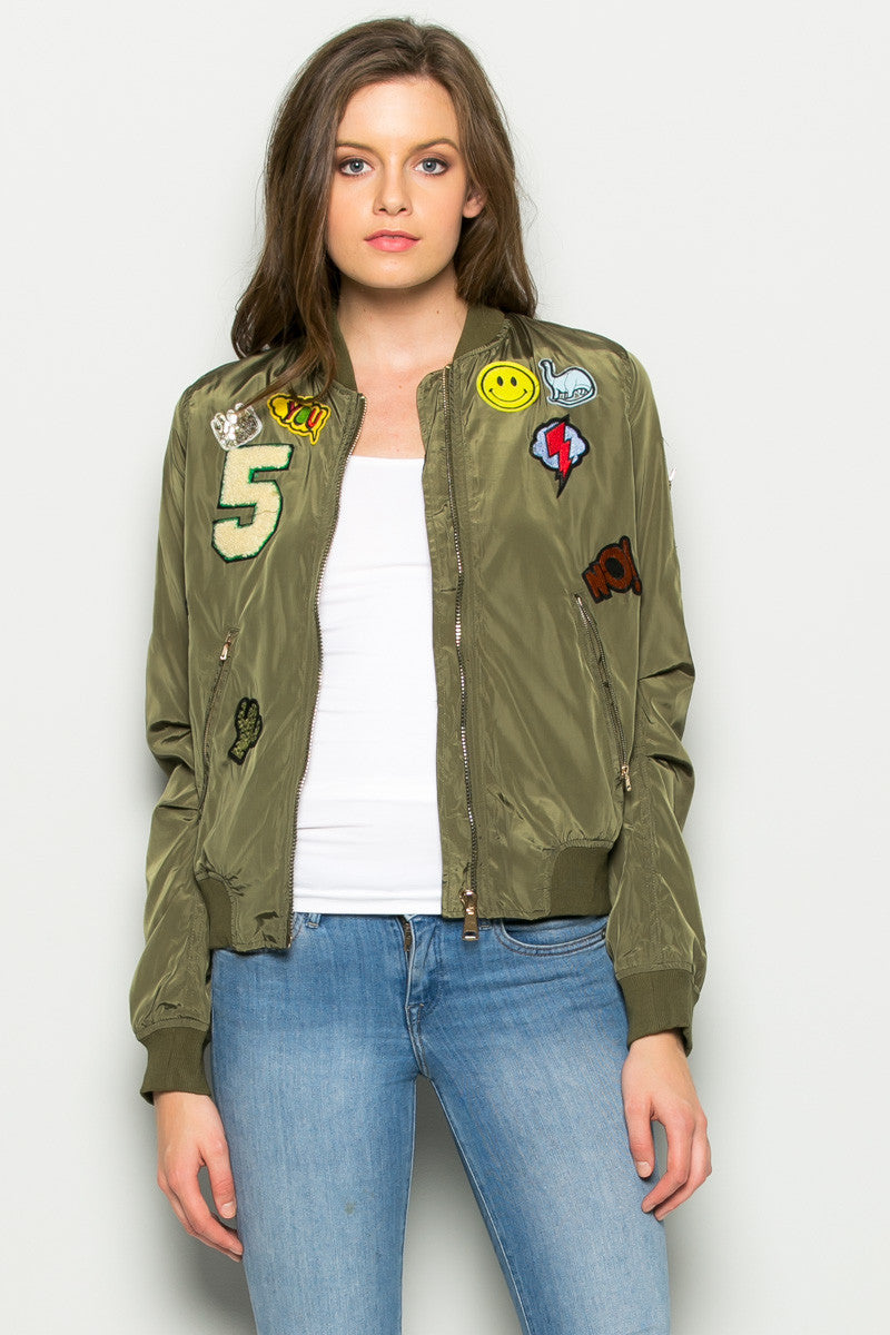 Olive Number 5 Patch Bomber Jacket - Jacket - My Yuccie - 2