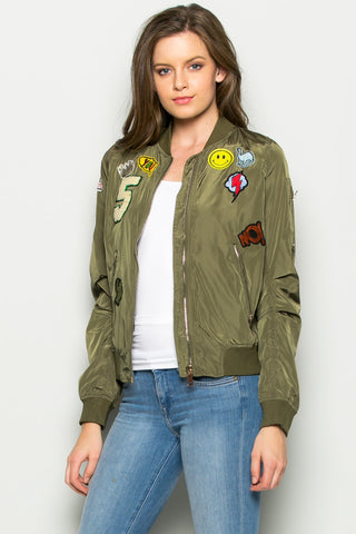 Olive Number 5 Patch Bomber Jacket - Jacket - My Yuccie - 1