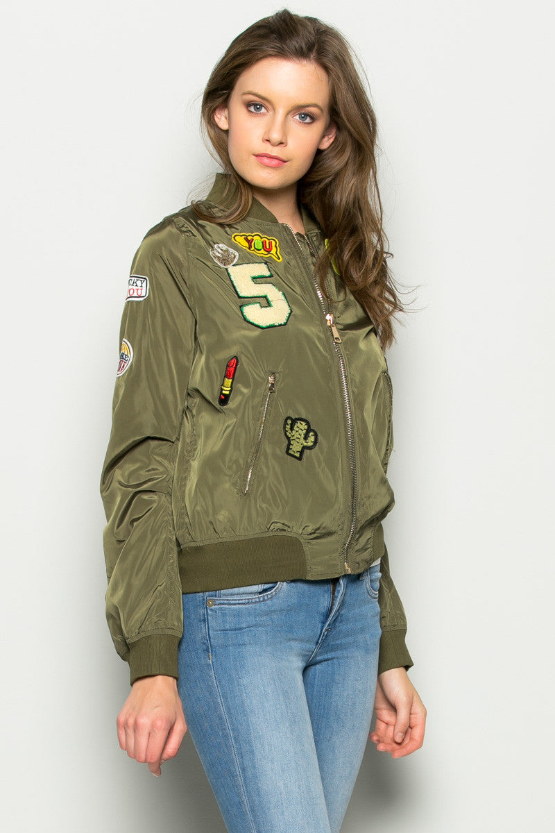 Olive Number 5 Patch Bomber Jacket - Jacket - My Yuccie - 3