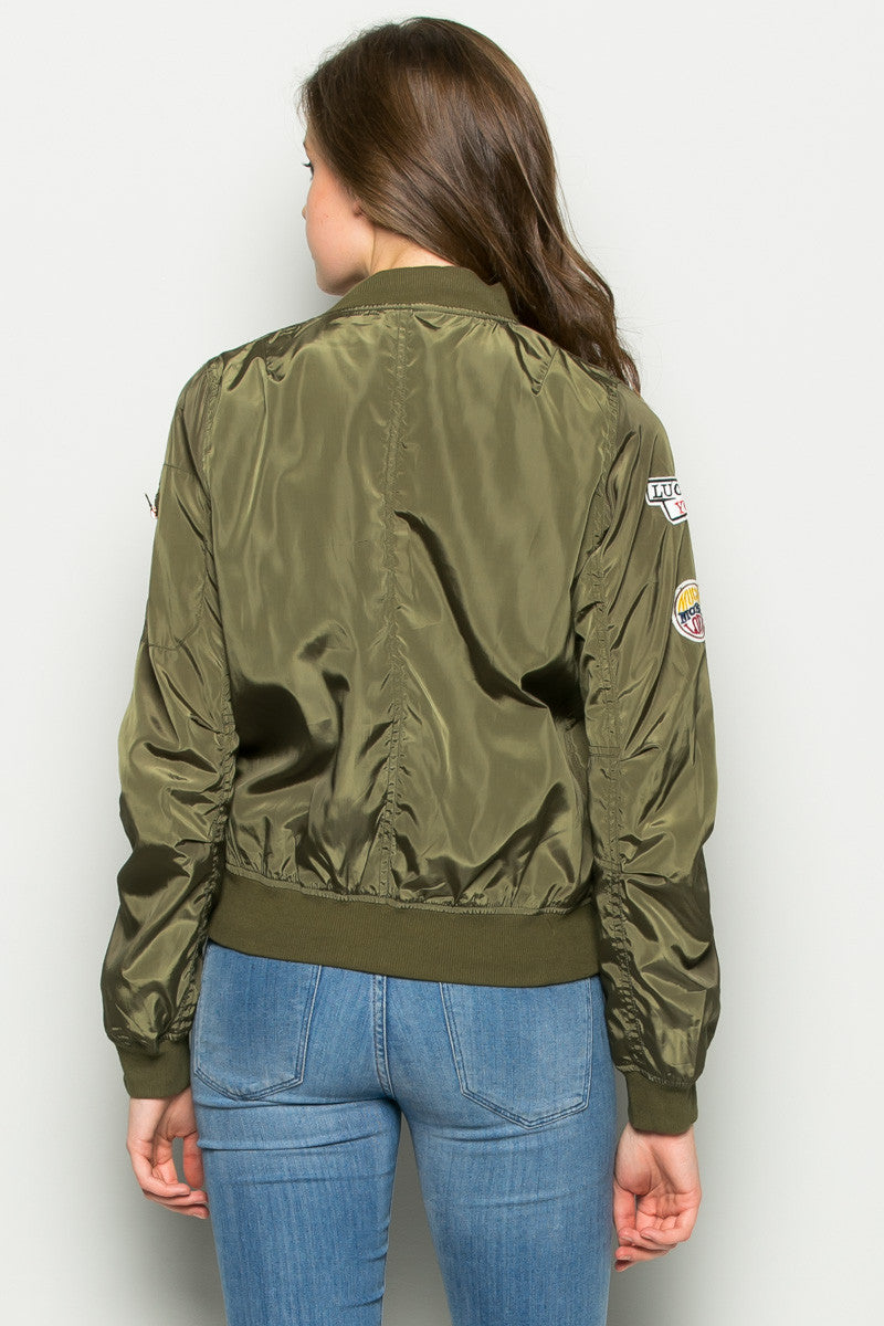 Olive Number 5 Patch Bomber Jacket - Jacket - My Yuccie - 4