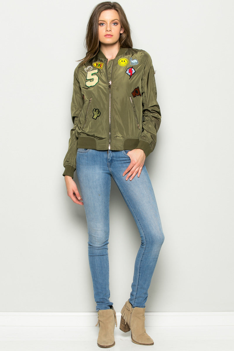 Olive Number 5 Patch Bomber Jacket - Jacket - My Yuccie - 5